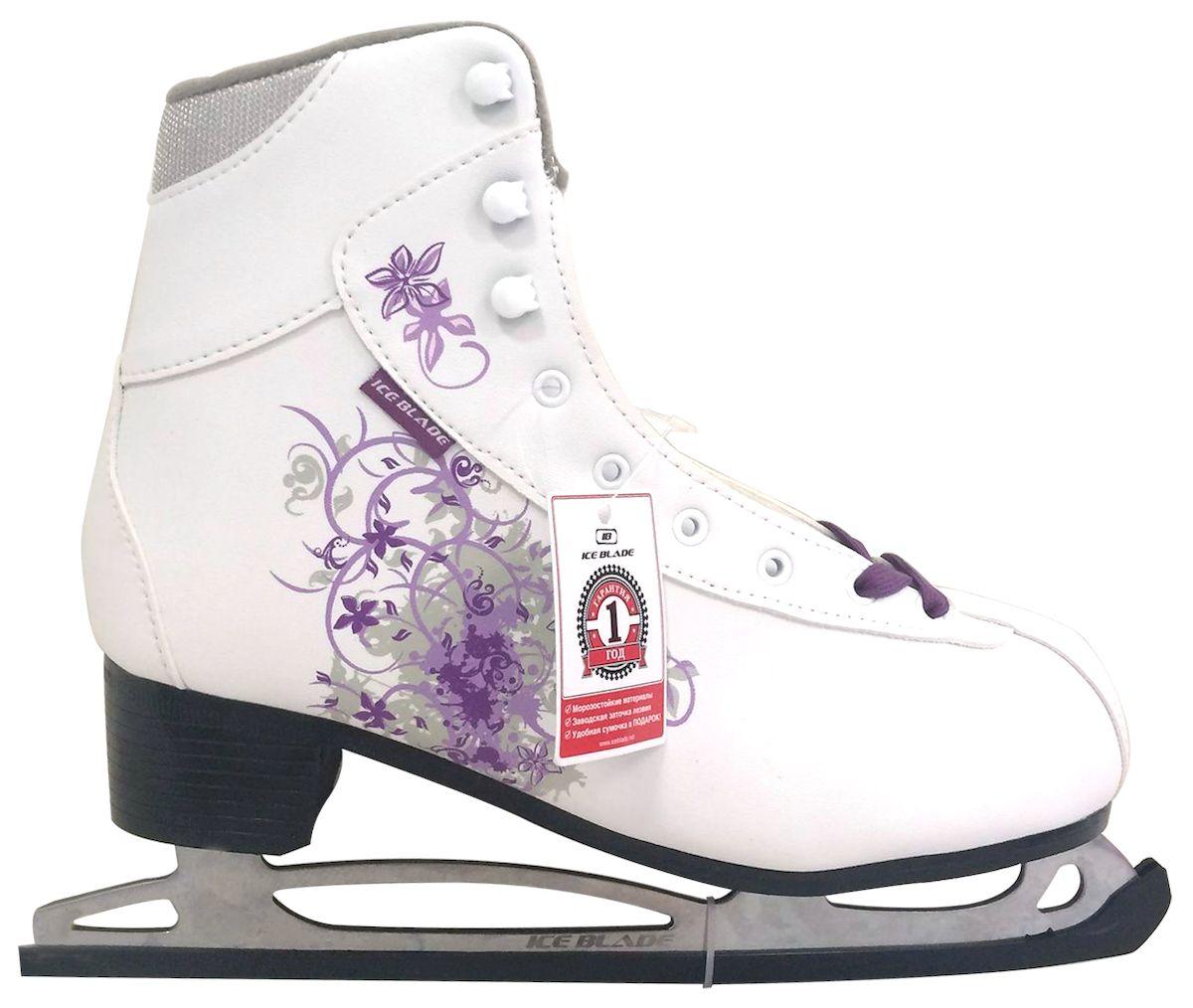 Коньки фигурные Ice Blade Sochi, цвет: белый, фиолетовый. УТ-00004988. Размер 34PW-221Коньки классической формы Ice Blade Sochi - прекрасные коньки, на создание которых технологов и дизайнеров Ice Blade вдохновили зимние Олимпийские игры 2014 в Сочи.Данные фигурные коньки предназначены для любительского катания. Они не только надежны и комфортны в использовании, но и отличаются прекрасным дизайном. Они выполнены из высококачественной искусственной кожи, обработанной защитным составом, предотвращающим негативное воздействие влаги.Ботинок очень удобен, благодаря своей анатомической конструкции, а его усиление надежно защищает голеностоп от повреждений. Ботинок изготовлен из особой высококачественной искусственной кожи и обладает высокой прочностью.Внутренняя часть ботинка выполнена из искусственного меха. Лезвие изготовлено из высокоуглеродистой стали с покрытием из никеля, что уменьшает вероятность коррозии металла.Яркий дизайн, удобный ботинок с мягкой меховой подкладкой и поддерживающей конструкцией сделают катание безопасным и комфортным.