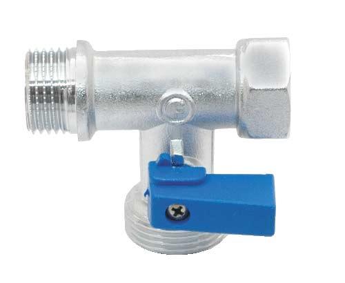 Кран шаровой Fornara, трехпроходной, 1/2 x 3/4 х 1/2124D-E-RTBOКран Fornara предназначен для подключения бытовой техники (стиральных и посудомоечных машин) к магистральным трубопроводам с циркуляцией горячих и холодных неагрессивных жидкостей. Диапазон рабочих температур: от +5°C до +95°C. Рабочее давление: 10 бар. Корпус крана покрыт никелем и хромирован гальваническим способом. Корпус обрабатывается пескоструйным способом.