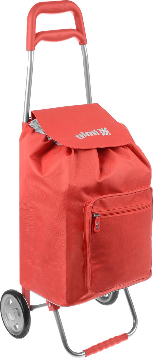 Сумка-тележка Gimi Argo, цвет: красный, серый, 45 л1551550080000/10000Хозяйственная сумка-тележка Gimi Argo выполнена из высококачественного полиэстера со стальным каркасом. Она оснащена 1 вместительным отделением, закрывающимся на шнурок. Спереди расположен карман на застежке-молнии. Сумка водоустойчива, оснащена 2 колесами, обеспечивающими удобство транспортировки. Для компактного хранения сумку можно сложить. Максимальная нагрузка: 30 кг.