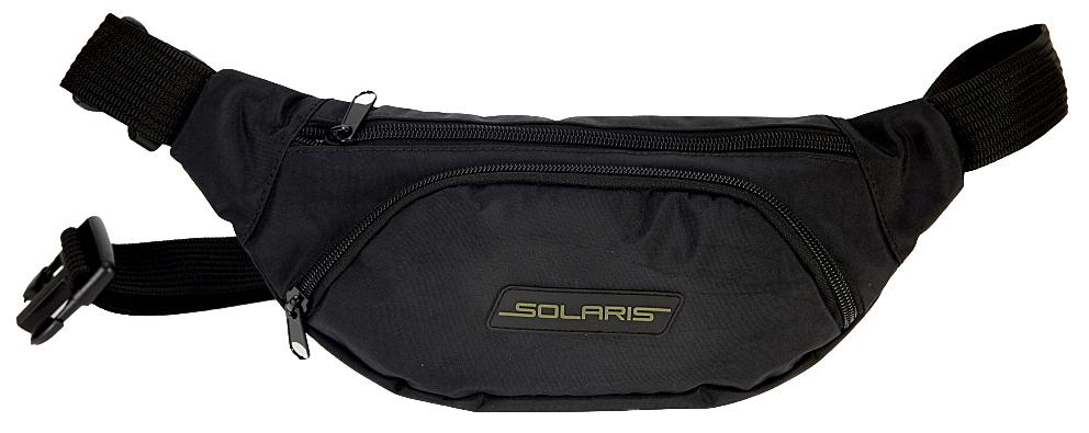 Сумка поясная Solaris S5406, цвет: черныйS5406Классическая поясная сумка Solaris для автомобилистов, туристов и ношения в городе. Может использоваться в качестве дополнительного элемента экипировки вместе с дорожной сумкой или рюкзаком. Сумка имеет 3 отделения: основное отделение с внутренним потайным карманом на молнии и накладной карман спереди. Размеры сумки 340х70х140 мм, регулировка по талии от 85 до 132 см. Большая регулировка поясного ремня по талии позволяет носить сумку и на верхней одежде. Сумка выполнена из высококачественной армированной непромокаемой ткани Stone Washed (жатка), состав полиэстер/ПВХ. Свойства ткани: прочность, износоустойчивость, морозостойкость, не деформируется при использовании. Кроме того, ткань имеет красивую фактуру с отливом. Используется легкая и прочная пластиковая фурнитура (материал - ацеталь).