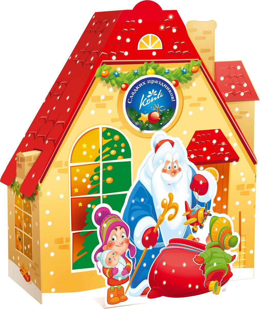 Конти рус Новогодний подарок 2016 Марьино, 700 г13949Вы когда-нибудь задумывались, как выглядит дом Деда Мороза? Может быть, именно так: сказочно, загадочно и очень ярко. Подарите ребенку этот подарок, и его, кроме сладостей, будет ждать еще и приятный сюрприз внутри.