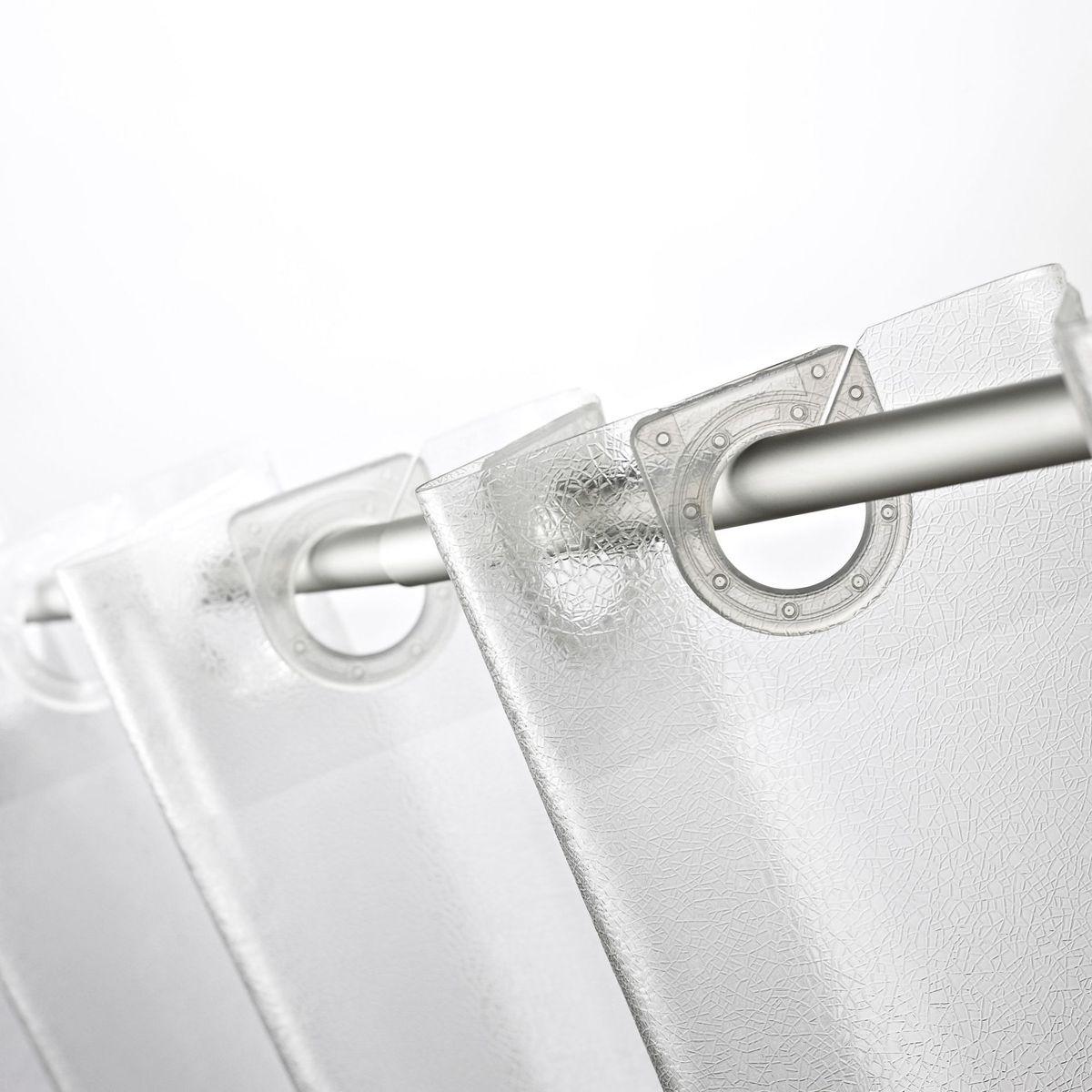 Штора для ванной комнаты Ridder Crashed Ice, 180 х 200 см35830Высококачественная немецкая штора для душа создает прекрасное настроение. Продукты из эколена не имеют запаха и считаются экологически чистыми. Ручная стирка. Не гладить.