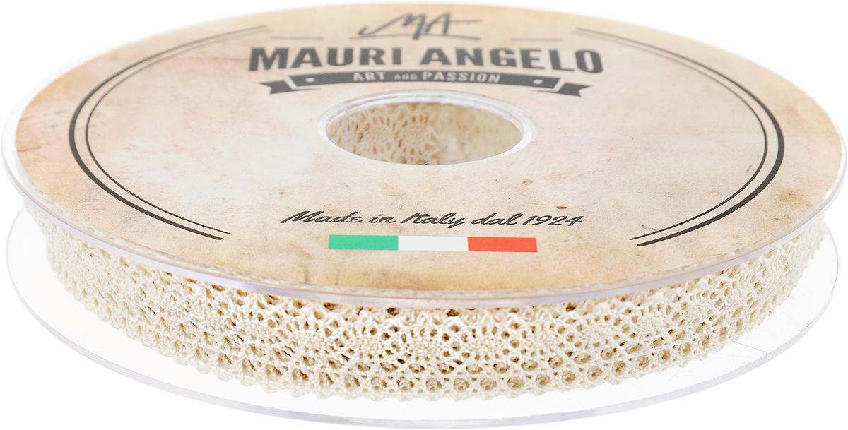 Лента кружевная Mauri Angelo, цвет: бежевый, 1,4 см х 20 мMR1058/E_бежевыйДекоративная кружевная лента Mauri Angelo - текстильное изделие без тканой основы, в котором ажурный орнамент и изображения образуются в результате переплетения нитей. Кружево применяется для отделки одежды, белья в виде окаймления или вставок, а также в оформлении интерьера, декоративных панно, скатертей, тюлей, покрывал. Главные особенности кружева - воздушность, тонкость, эластичность, узорность. Декоративная кружевная лента Mauri Angelo станет незаменимым элементом в создании рукотворного шедевра. Ширина: 1,4 см. Длина: 20 м.