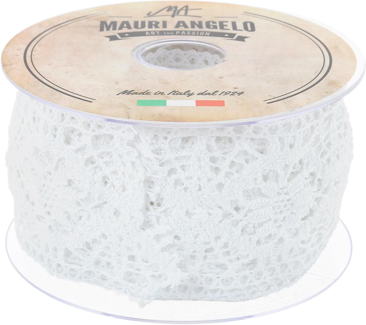 Лента кружевная Mauri Angelo, цвет: белый, 6,1 см х 10 мMR5321_белыйДекоративная кружевная лента Mauri Angelo - текстильное изделие без тканой основы, в котором ажурный орнамент и изображения образуются в результате переплетения нитей. Кружево применяется для отделки одежды, белья в виде окаймления или вставок, а также в оформлении интерьера, декоративных панно, скатертей, тюлей, покрывал. Главные особенности кружева - воздушность, тонкость, эластичность, узорность. Декоративная кружевная лента Mauri Angelo станет незаменимым элементом в создании рукотворного шедевра. Ширина: 6,1 см. Длина: 10 м.