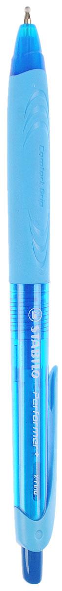 Stabilo Ручка шариковая Performer + цвет чернил синий цвет корпуса синий голубой328/41-1B_синий, голубойАвтоматическая шариковая ручка Stabilo Performer + с привлекательным дизайном и ярким цветовым решением корпуса. Улучшенная формула чернил, и особая технология обжатия шарика обеспечивают ручке исключительное качество письма. Она долго пишет благодаря увеличенному запасу чернил и возможности замены стержня. Рифленая зона обхвата фиксирует пальцы, предотвращая их скольжение, и снижает напряжение кисти при письме. Цвет чернил - синий.