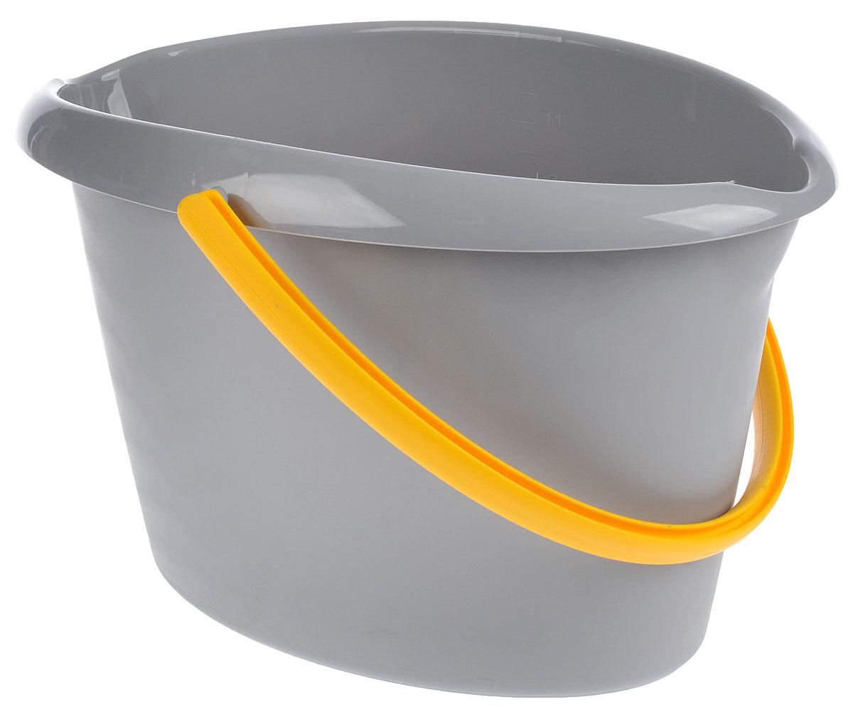 Ведро для уборки Apex, цвет: серый, желтый, 12 л10380-A_серыйОвальное ведро для уборки York изготовлено из высококачественного пластика. Оно легче железного и не подвержено коррозии. Изделие оснащено удобной пластиковой ручкой. Такое ведро станет незаменимым помощником в хозяйстве. Размер ведра (по верхнему краю): 40 х 27 см. Высота стенок: 26 см.