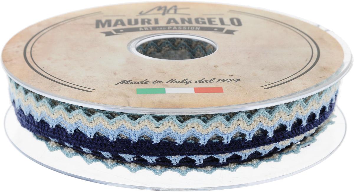Лента кружевная Mauri Angelo, цвет: голубой, бежевый, темно-синий, 1,45 см х 20 мMR1451/PL/22Декоративная кружевная лента Mauri Angelo выполнена из высококачественного полиэстера. Кружево применяется для отделки одежды, постельного белья, а также в оформлении интерьера, декоративных панно, скатертей, тюлей, покрывал. Главные особенности кружева - воздушность, тонкость, эластичность, узорность. Такая лента станет незаменимым элементом в создании рукотворного шедевра.