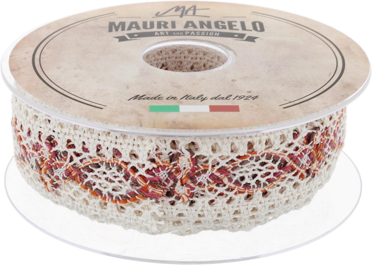 Лента кружевная Mauri Angelo, цвет: белый, оранжевый, розовый, 3,6 см х 10 мMR3498/PL/2Декоративная кружевная лента Mauri Angelo выполнена из высококачественного хлопка и полиэстера. Кружево применяется для отделки одежды, постельного белья, а также в оформлении интерьера, декоративных панно, скатертей, тюлей, покрывал. Главные особенности кружева - воздушность, тонкость, эластичность, узорность. Такая лента станет незаменимым элементом в создании рукотворного шедевра.