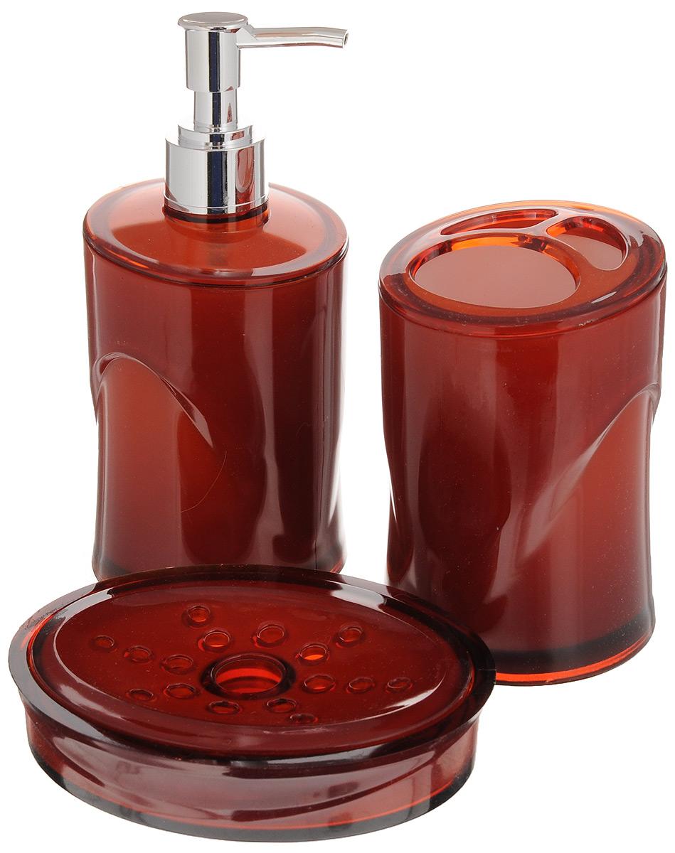 Набор для ванной комнаты Indecor, цвет: терракотовый, 3 предмета. IND038IND038cНабор для ванной комнаты Indecor состоит из стакана для зубных щеток, дозатора для жидкого мыла и мыльницы. Стакан, дозатор и мыльница изготовлены из высококачественного пластика. Аксессуары, входящие в набор Indecor, выполняют не только практическую, но и декоративную функцию. Они способны внести в помещение изысканность, сделать пребывание в нем приятным и даже незабываемым. Размер стакана: 7 х 7 х 11 см. Объем стакана: 300 мл. Размер дозатора: 7 х 7 х 17,5 см. Объем дозатора: 300 мл. Размер мыльницы: 11,5 х 9 х 3 см.