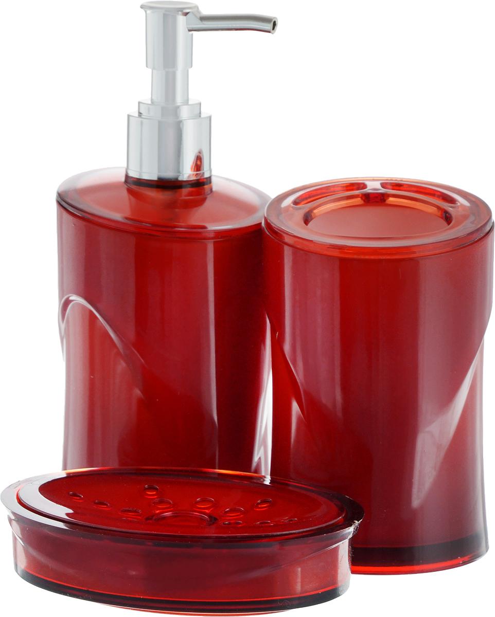 Набор для ванной комнаты Indecor, цвет: красный, 3 предмета. IND038IND038rНабор для ванной комнаты Indecor состоит из стакана для зубных щеток, дозатора для жидкого мыла и мыльницы. Стакан, дозатор и мыльница изготовлены из высококачественного пластика. Аксессуары, входящие в набор Indecor, выполняют не только практическую, но и декоративную функцию. Они способны внести в помещение изысканность, сделать пребывание в нем приятным и даже незабываемым. Размер стакана: 7 х 7 х 11 см. Объем стакана: 300 мл. Размер дозатора: 7 х 7 х 17,5 см. Объем дозатора: 300 мл. Размер мыльницы: 11,5 х 9 х 3 см.