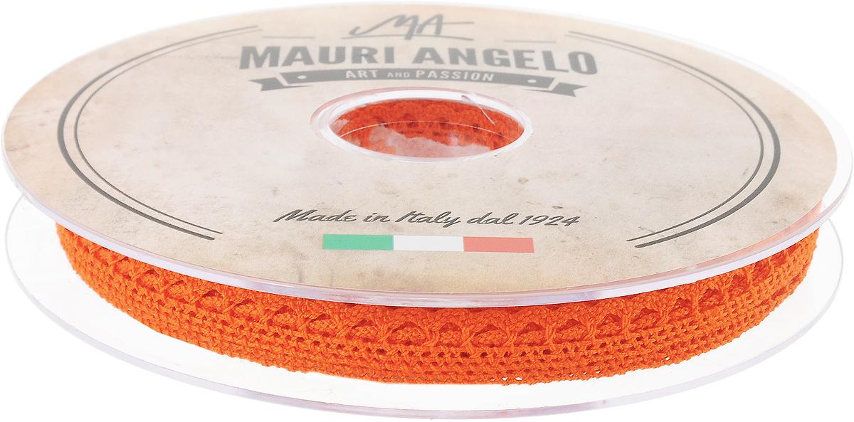 Лента кружевная Mauri Angelo, цвет: оранжевый, 0,9 см х 20 м531-105Декоративная кружевная лента Mauri Angelo - текстильное изделие без тканой основы, в котором ажурный орнамент и изображения образуются в результате переплетения нитей. Кружево применяется для отделки одежды, белья в виде окаймления или вставок, а также в оформлении интерьера, декоративных панно, скатертей, тюлей, покрывал. Главные особенности кружева - воздушность, тонкость, эластичность, узорность.Декоративная кружевная лента Mauri Angelo станет незаменимым элементом в создании рукотворного шедевра. Ширина: 0,9 см.Длина: 20 м.