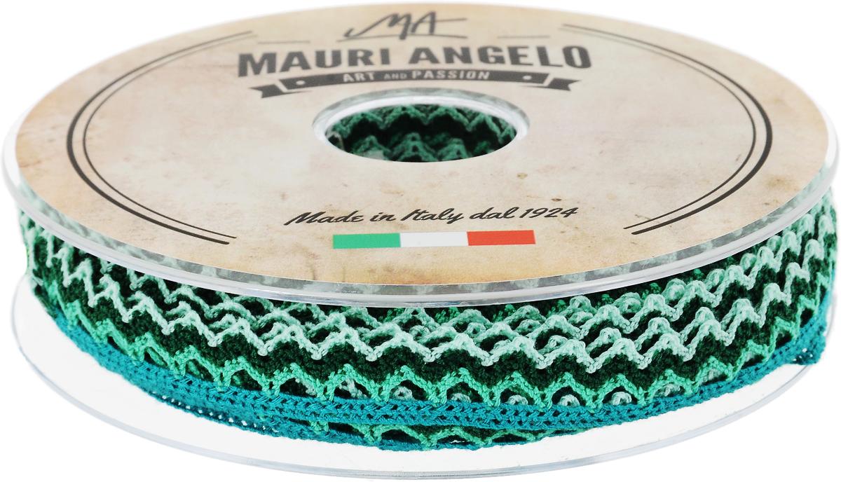 Лента кружевная Mauri Angelo, цвет: темно-зеленый, светло-зеленый, бирюзовый, 1,45 см х 20 мMR1451/PL/21Декоративная кружевная лента Mauri Angelo выполнена из высококачественного полиэстера. Кружево применяется для отделки одежды, постельного белья, а также в оформлении интерьера, декоративных панно, скатертей, тюлей, покрывал. Главные особенности кружева - воздушность, тонкость, эластичность, узорность. Такая лента станет незаменимым элементом в создании рукотворного шедевра.