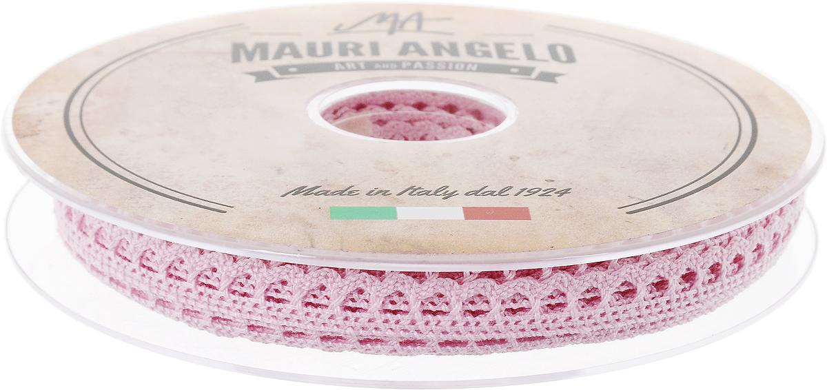 Лента кружевная Mauri Angelo, цвет: розовый, 0,9 см х 20 мMR1096/015_розовыйДекоративная кружевная лента Mauri Angelo - текстильное изделие без тканой основы, в котором ажурный орнамент и изображения образуются в результате переплетения нитей. Кружево применяется для отделки одежды, белья в виде окаймления или вставок, а также в оформлении интерьера, декоративных панно, скатертей, тюлей, покрывал. Главные особенности кружева - воздушность, тонкость, эластичность, узорность. Декоративная кружевная лента Mauri Angelo станет незаменимым элементом в создании рукотворного шедевра. Ширина: 0,9 см. Длина: 20 м.