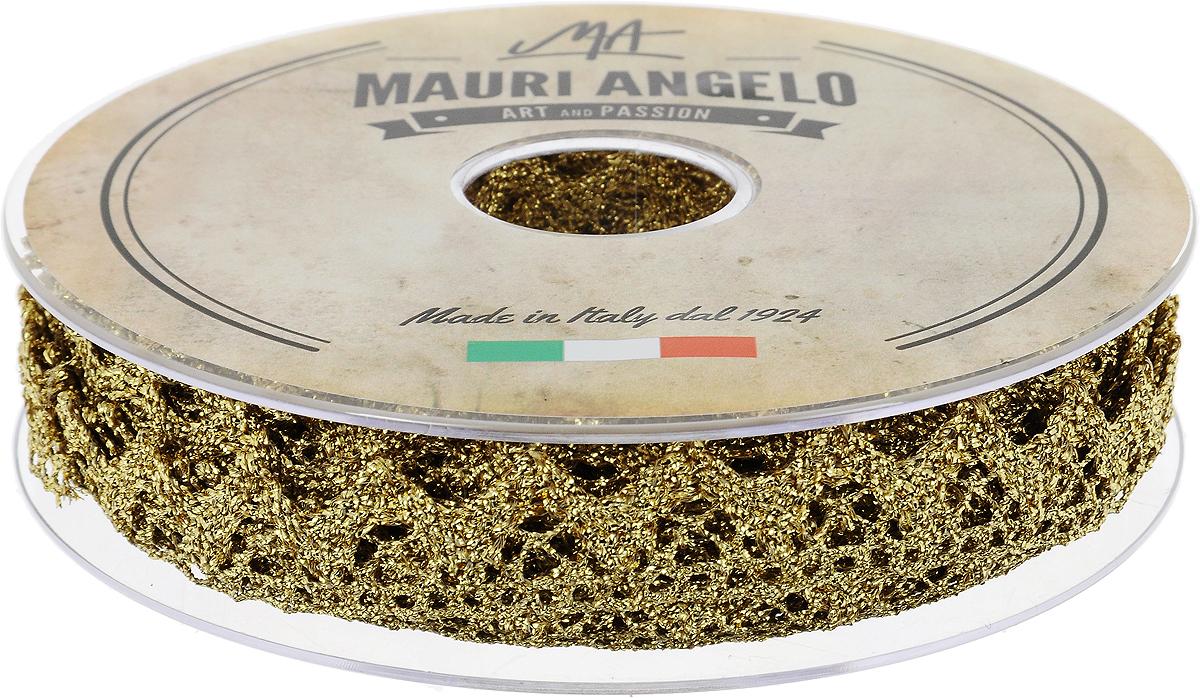 Лента кружевная Mauri Angelo, цвет: золотой, 1,8 см х 20 мMR2710/13_золотойДекоративная кружевная лента Mauri Angelo - текстильное изделие без тканой основы, в котором ажурный орнамент и изображения образуются в результате переплетения нитей. Кружево применяется для отделки одежды, белья в виде окаймления или вставок, а также в оформлении интерьера, декоративных панно, скатертей, тюлей, покрывал. Главные особенности кружева - воздушность, тонкость, эластичность, узорность. Декоративная кружевная лента Mauri Angelo станет незаменимым элементом в создании рукотворного шедевра. Ширина: 1,8 см. Длина: 20 м.