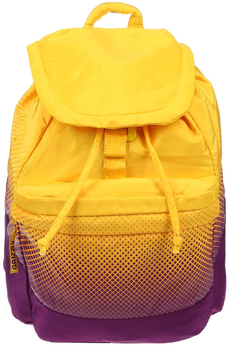 Рюкзак городской женский Grizzly, цвет: желтый, пурпурный, 22 л. RD-748-1/14670018862011Рюкзак городской Grizzl выполнен из высококачественного полиэстера, который не пропускает воду. Изделие оформлено оригинальным принтом. На лицевой стороне расположен объемный накладной карман на молнии. На тыльной стороне расположен вшитый карман на молнии. Рюкзак оснащен петлей для подвешивания и двумя удобными лямками, длина которых регулируется с помощью пряжек. Изделие закрывается клапаном на металлический крючок. Внутри расположено главное отделение, закрывающееся с помощью затягивающегося шнурка. Главное отделение содержит один открытый накладной карман и карман на молнии для мелочей.