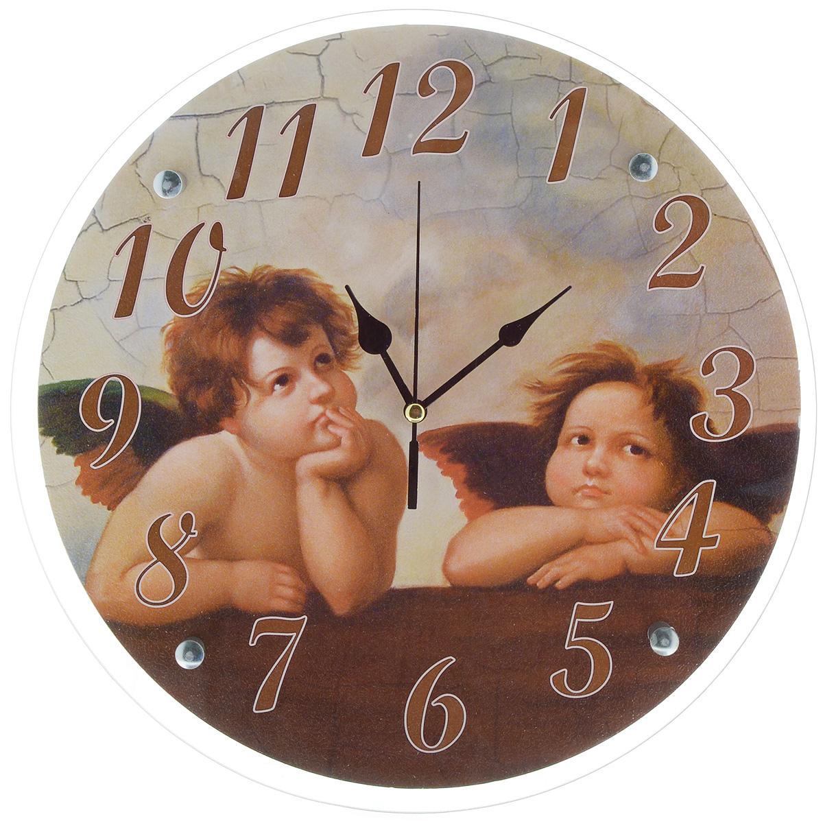 Часы настенные Proffi Home Купидоны, диаметр 33 смВ892Настенные кварцевые часы Proffi Home Купидоны, изготовленные из ДВП и стекла, прекрасно подойдут под интерьер вашего дома. Круглые часы имеют три стрелки: часовую, минутную и секундную. Часы оснащены металлической планкой для подвешивания. Диаметр часов: 33 см. Часы работают от 1 батарейки типа АА напряжением 1,5 В. Батарейка в комплект не входит.