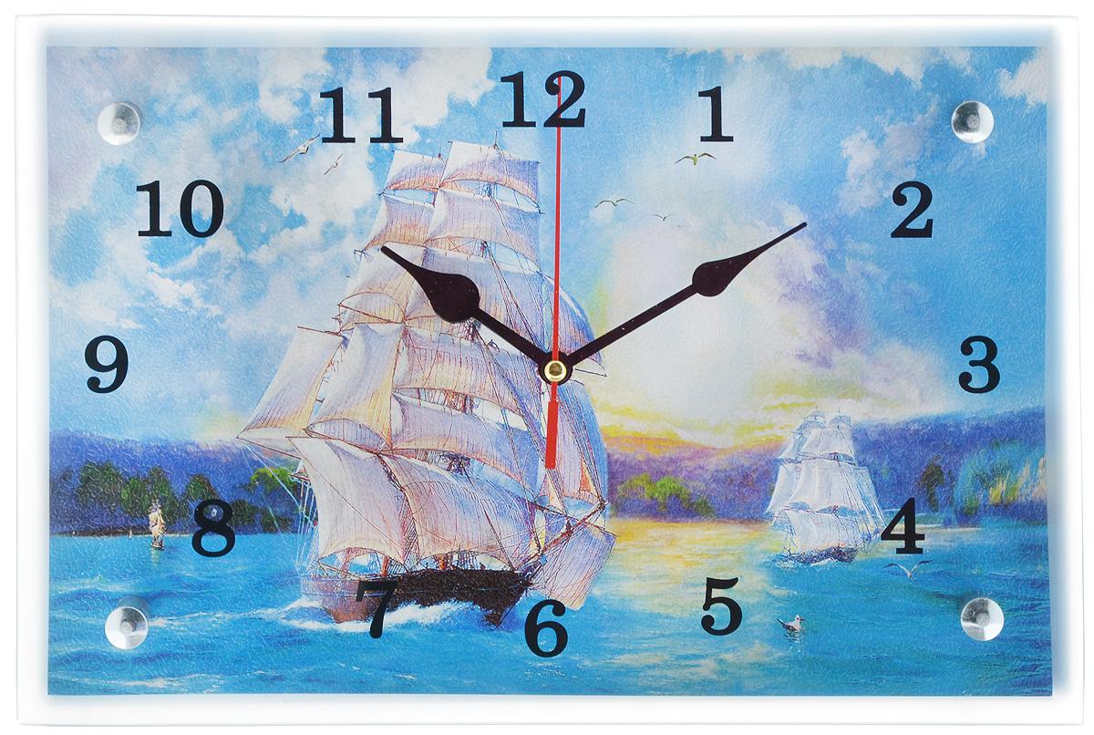 Часы настенные Proffi Home Бригантина, 20 х 30 см94672Настенные кварцевые часы Proffi Home Бригантина, изготовленные из ДВП и стекла, прекрасно подойдут под интерьер вашего дома. Прямоугольные часы имеют три стрелки: часовую, минутную и секундную. Часы оснащены металлической планкой для подвешивания. Размер часов: 20 х 30 см.Часы работают от 1 батарейки типа АА напряжением 1,5 В. Батарейка в комплект не входит.