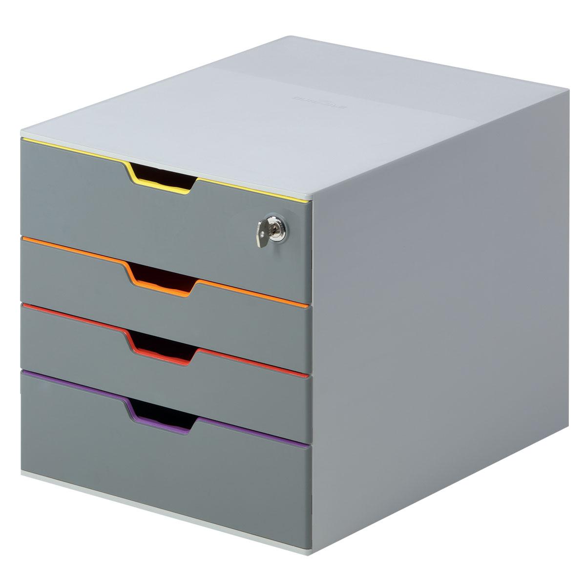 Короб для документов Durable Varicolor. 7606-277606-27Выполнен из высококачественного пластика. Выдвижные ящики закрытого типа, оснащены стопорами и табуляторами для маркировки. Боксы можно устанавливать друг на друга, фиксируются при помощи резиновых ножек. 4 ящика. Размер 292x280x356 мм. Стильный короб для документов с 4 выдвижными цветными ящичками. Выполнен из пластика премиального качества. Широкие лотки для удобного хранения большого количества документов. Верхний лоток запирается на замок, что позволяет хранить в боксе ценные бумаги и аксессуары. Выдвижные ящички выполнены в разных цветах, что позволяет группировать документы по тематикам и быстро их находить. Подходят для форматов А4, С4, Folio. Бокс оснащен стопорами, которые не позволяют выпасть лоткам при резком открывании, а также съемными табуляторами для маркировки. Не скользит даже на самых гладких поверхностях благодаря силиконовым ножкам.