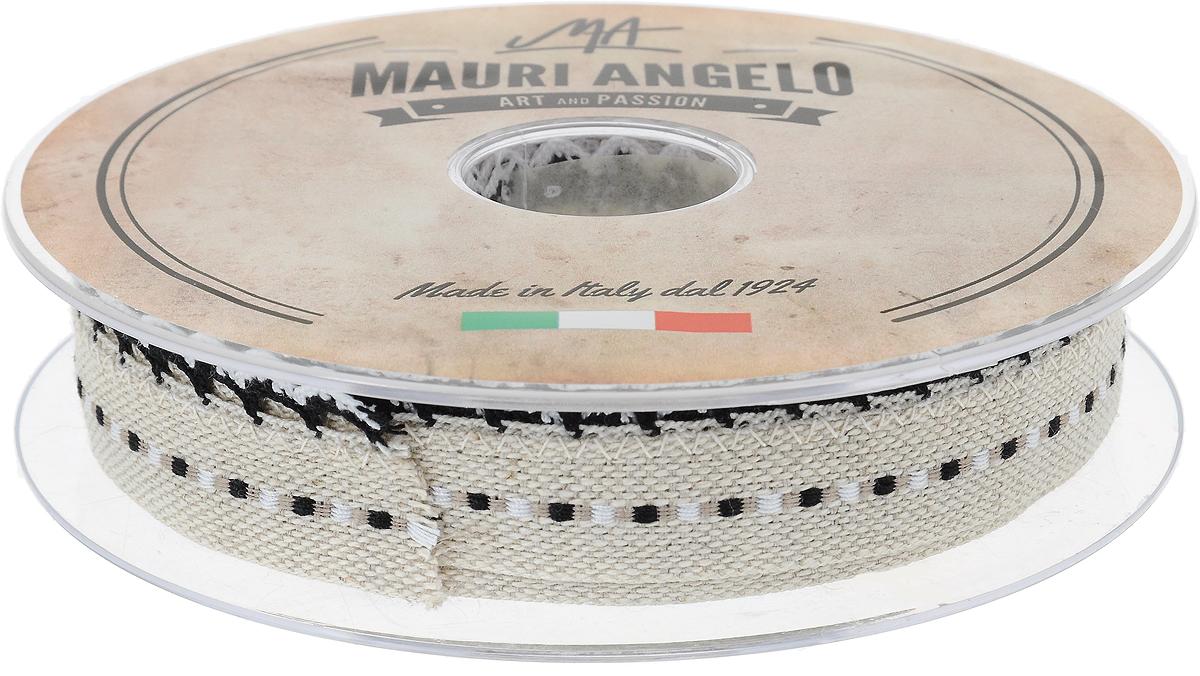 Лента декоративная Mauri Angelo, цвет: бежевый, черный, белый, 2,4 см х 10 мMR720ZTRA/5Декоративная лента Mauri Angelo - текстильное изделие без тканой основы. Одна сторона декорирована кружевами. Лента применяется для отделки одежды, белья в виде окаймления или вставок, а также в оформлении интерьера, декоративных панно, скатертей, тюлей, покрывал. Декоративная лента Mauri Angelo станет незаменимым элементом в создании рукотворного шедевра.
