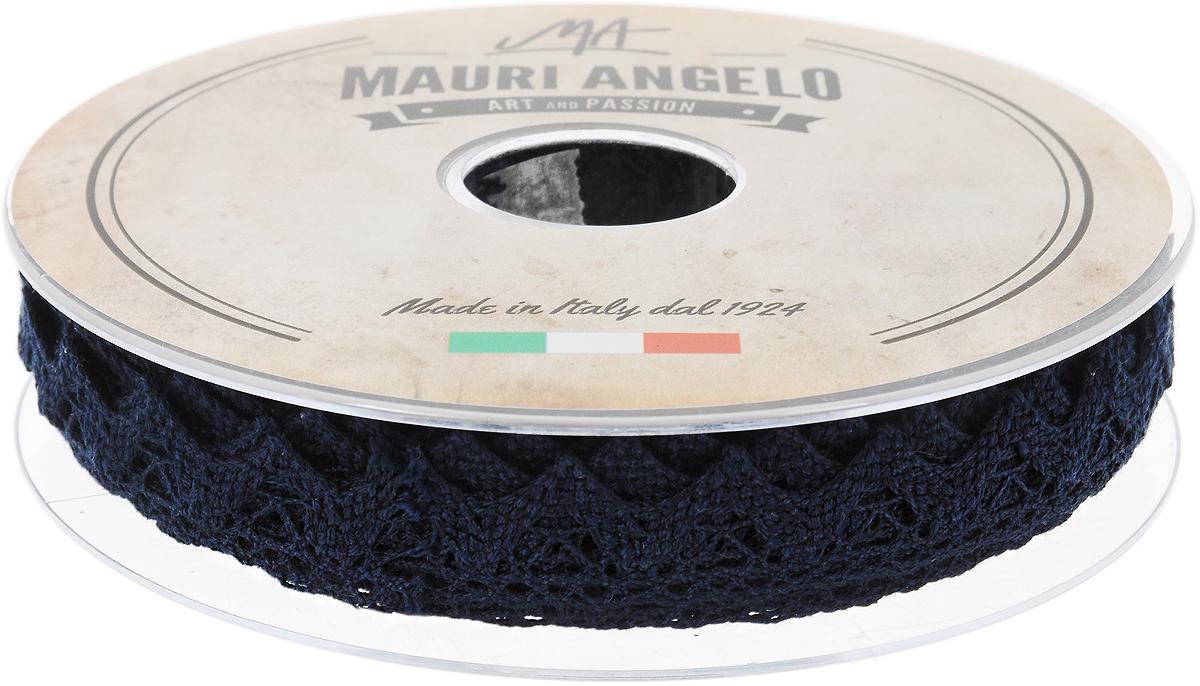 Лента кружевная Mauri Angelo, цвет: темно-синий, 1,8 см х 20 мMR2710/039_темно-синийДекоративная кружевная лента Mauri Angelo - текстильное изделие без тканой основы, в котором ажурный орнамент и изображения образуются в результате переплетения нитей. Кружево применяется для отделки одежды, белья в виде окаймления или вставок, а также в оформлении интерьера, декоративных панно, скатертей, тюлей, покрывал. Главные особенности кружева - воздушность, тонкость, эластичность, узорность. Декоративная кружевная лента Mauri Angelo станет незаменимым элементом в создании рукотворного шедевра. Ширина: 1,8 см. Длина: 20 м.