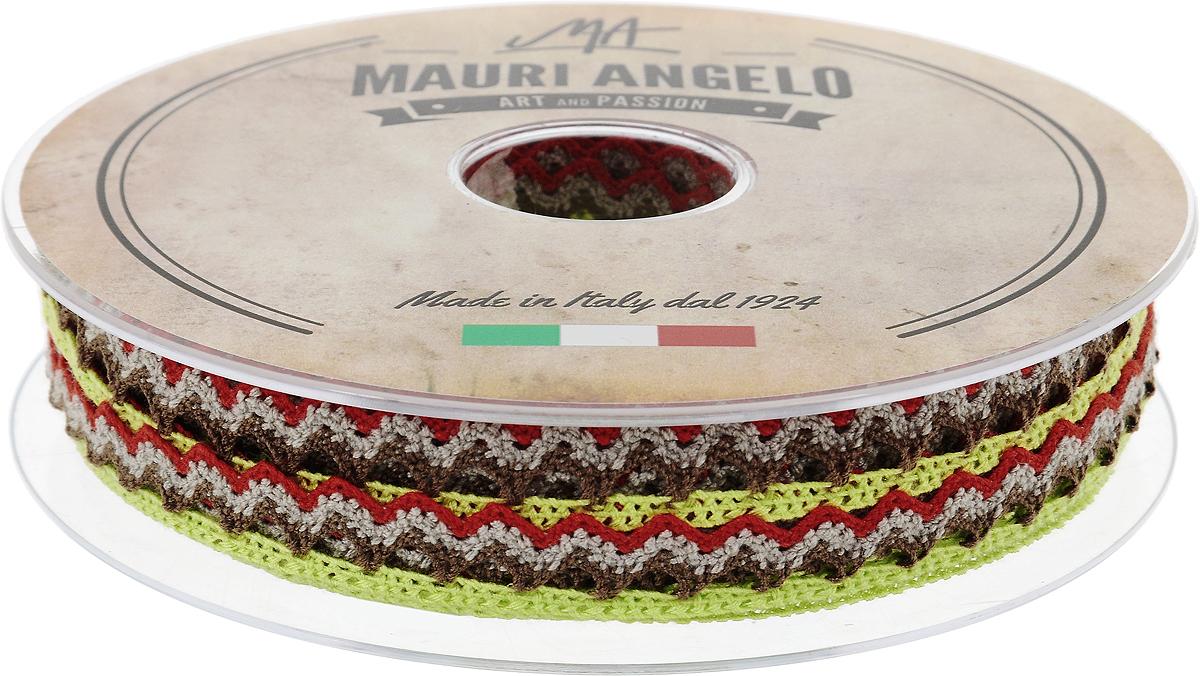 Лента кружевная Mauri Angelo, цвет: салатовый, коричневый, красный, 1,45 см х 20 мMR1451/PL/8Декоративная кружевная лента Mauri Angelo выполнена из высококачественного полиэстера. Кружево применяется для отделки одежды, постельного белья, а также в оформлении интерьера, декоративных панно, скатертей, тюлей, покрывал. Главные особенности кружева - воздушность, тонкость, эластичность, узорность. Такая лента станет незаменимым элементом в создании рукотворного шедевра.