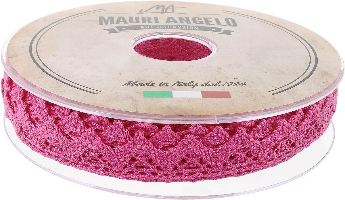Лента кружевная Mauri Angelo, цвет: фуксия, 1,8 см х 20 мMR2710/024_фуксияДекоративная кружевная лента Mauri Angelo - текстильное изделие без тканой основы, в котором ажурный орнамент и изображения образуются в результате переплетения нитей. Кружево применяется для отделки одежды, белья в виде окаймления или вставок, а также в оформлении интерьера, декоративных панно, скатертей, тюлей, покрывал. Главные особенности кружева - воздушность, тонкость, эластичность, узорность. Декоративная кружевная лента Mauri Angelo станет незаменимым элементом в создании рукотворного шедевра. Ширина: 1,8 см. Длина: 20 м.