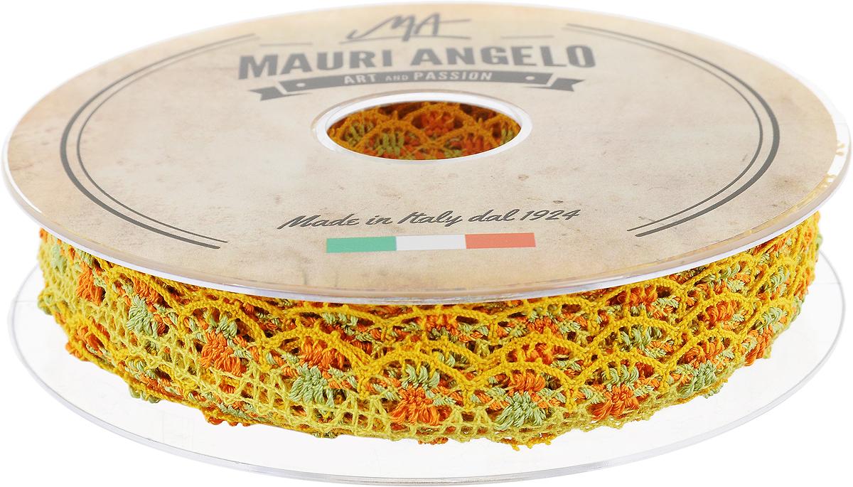 Лента кружевная Mauri Angelo, цвет: оранжевый, желтый, зеленый, 1,8 см х 20 м. MR8849/MC/2MR8849/MC/2_оранжевый, желтый, зеленыйДекоративная кружевная лента Mauri Angelo - текстильное изделие без тканой основы, в котором ажурный орнамент и изображения образуются в результате переплетения нитей. Кружево применяется для отделки одежды, белья в виде окаймления или вставок, а также в оформлении интерьера, декоративных панно, скатертей, тюлей, покрывал. Главные особенности кружева - воздушность, тонкость, эластичность, узорность. Декоративная кружевная лента Mauri Angelo станет незаменимым элементом в создании рукотворного шедевра. Ширина: 1,8 см. Длина: 20 м.