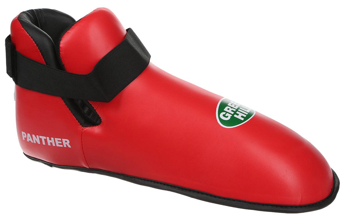 Футы Green Hill Panther, цвет: красный, черный. Размер XXL. KBSP-3076AIRWHEEL Q3-340WH-BLACKФуты Green Hill Panther применяются для занятий кикбоксингом. Выполнены из высококачественной искусственной кожи, наполнитель - вспененный полимер. Резинки на липучке в задней части футов обеспечивают лучшую фиксацию ноги.Длина стопы: 36 см. Ширина: 13 см.Размер ноги должен быть меньше на 1-1,5 см.