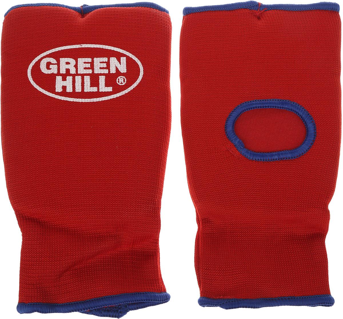 Защита на кисть Green Hill, цвет: красный, синий. Размер XL. HP-0053AP202004Защита на кисть Green Hill предназначена для занятий различными видами единоборств. Она защищает руки от синяков, вывихов и ушибов. Защита изготовлена из хлопка с эластаном, мягкие вкладки изготовлены из вспененного полимера. Растягивается до 40%.