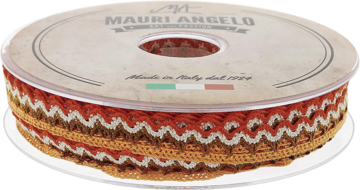 Лента кружевная Mauri Angelo, цвет: оранжевый, коричневый, 1,45 см х 20 мMR1451/PL/18_оранжевый, коричневыйДекоративная кружевная лента Mauri Angelo - текстильное изделие без тканой основы, в котором ажурный орнамент и изображения образуются в результате переплетения нитей. Кружево применяется для отделки одежды, белья в виде окаймления или вставок, а также в оформлении интерьера, декоративных панно, скатертей, тюлей, покрывал. Главные особенности кружева - воздушность, тонкость, эластичность, узорность. Декоративная кружевная лента Mauri Angelo станет незаменимым элементом в создании рукотворного шедевра. Ширина: 1,45 см. Длина: 20 м.