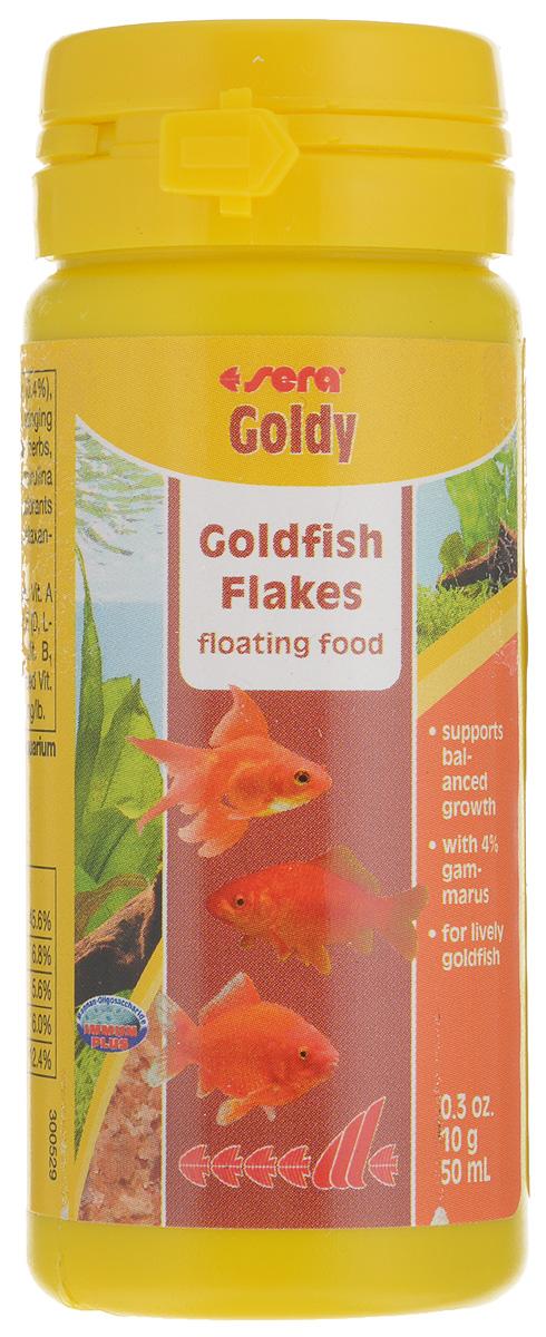 Корм для золотых рыбок Sera Goldy, хлопья, 50 мл (10 г)16004Корм Sera Goldy - основной корм, который состоит из плавающих хлопьев, произведенных путем бережной обработки сырья. Корм предназначен для небольших золотых рыбок. Благодаря тщательно подобранным ингредиентам растительного и животного происхождения, корм является привлекательным для рыб, легко усваивается, способствует их сбалансированному росту и активности. Этот основной корм предотвращает проблемы пищеварения, специфические для этих видов, и снабжает рыб всеми питательными веществами, необходимыми для здорового роста. Товар сертифицирован.