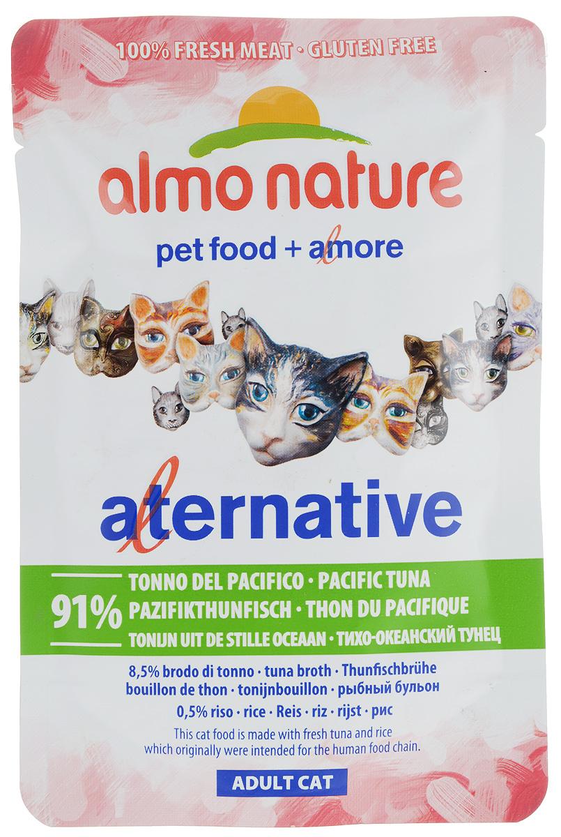 Консервы Almo Nature Alternative для кошек, с тихоокеанским тунцом, 55 г0120710Консервы Almo Nature Alternative - корм для кошек наиболее приближенный к природе. Уникальность его заключается в том, что мясо тунца не подвергается предварительной обработке, а упаковывается в свежем (сыром) виде и готовится внутри пауча, что позволяет сохранить все питательные вещества, неповторимый вкус и аромат мяса.Товар сертифицирован.