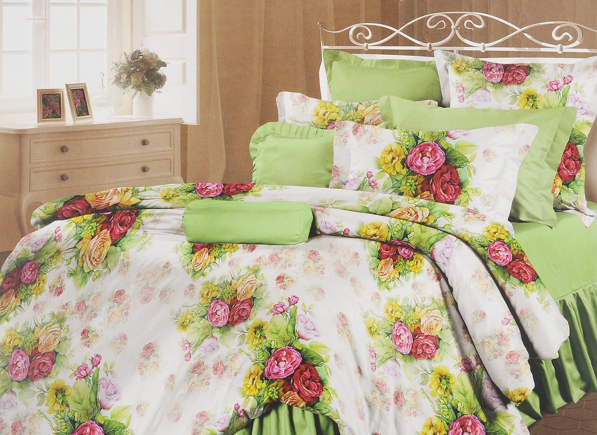 Комплект белья Романтика Розелла, семейный, наволочки 70x70361044Роскошный комплект постельного белья Романтика Розелла выполнен из ткани Lux Перкаль, произведенной из натурального 100% хлопка. Ткань приятная на ощупь, при этом она прочная, хорошо сохраняет форму и легко гладится. Комплект состоит из двух пододеяльников, простыни и двух наволочек и оформлен цветочным принтом. Благодаря такому комплекту постельного белья вы создадите неповторимую и романтическую атмосферу в вашей спальне.
