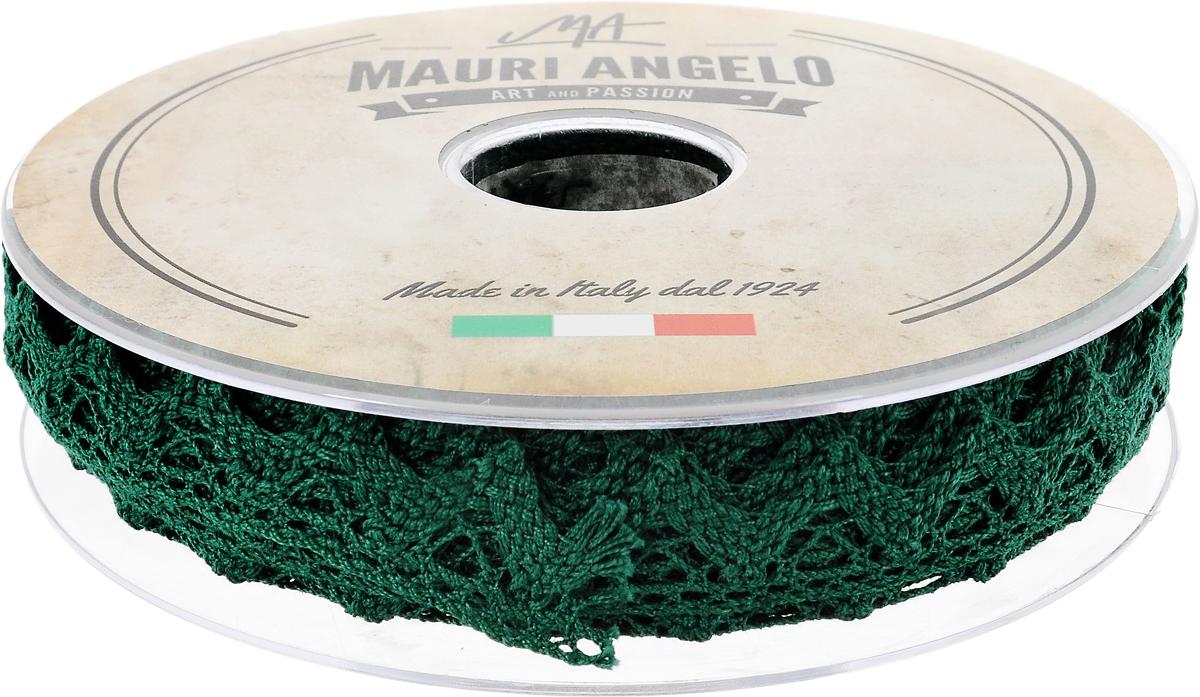Лента кружевная Mauri Angelo, цвет: зеленый, 1,8 см х 20 мMR2710/050_зеленыйДекоративная кружевная лента Mauri Angelo - текстильное изделие без тканой основы, в котором ажурный орнамент и изображения образуются в результате переплетения нитей. Кружево применяется для отделки одежды, белья в виде окаймления или вставок, а также в оформлении интерьера, декоративных панно, скатертей, тюлей, покрывал. Главные особенности кружева - воздушность, тонкость, эластичность, узорность. Декоративная кружевная лента Mauri Angelo станет незаменимым элементом в создании рукотворного шедевра. Ширина: 1,8 см. Длина: 20 м.