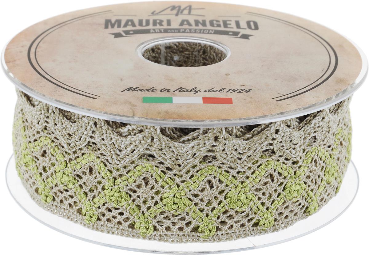 Лента кружевная Mauri Angelo, цвет: бежевый, светло-зеленый, белый, 5 см х 10 мMR3327/LI/5Декоративная кружевная лента Mauri Angelo выполнена из высококачественных материалов. Кружево применяется для отделки одежды, постельного белья, а также в оформлении интерьера, декоративных панно, скатертей, тюлей, покрывал. Главные особенности кружева - воздушность, тонкость, эластичность, узорность. Такая лента станет незаменимым элементом в создании рукотворного шедевра.