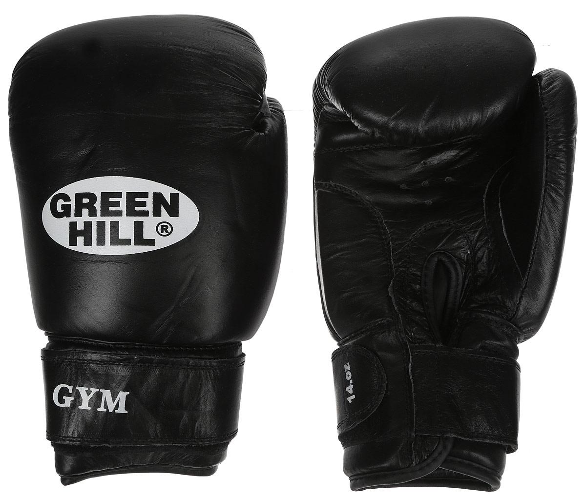 Перчатки боксерские Green Hill Gym, цвет: черный, белый. Вес 14 унцийAP02013Боксерские перчатки Green Hill Gym подходят для всех видов единоборств где применяют перчатки. Подойдет как для бокса, так и для кикбоксинга. Новички и профессионалы высоко ценят эту модель за универсальность. Верхняя часть перчатки выполнена из натуральной кожи, наполнитель - пенополиуретан. Перфорированная поверхность в области ладони позволяет создать максимально комфортный терморежим во время занятий. Закрепляется на руке при помощи липучки.