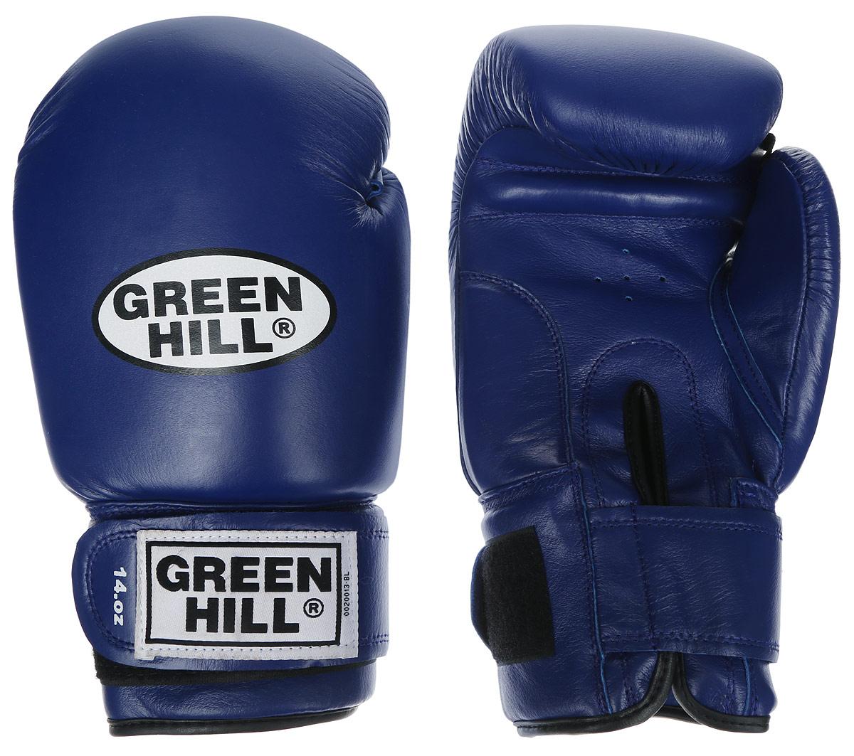 Перчатки боксерские Green Hill Super Star, цвет: синий, белый. Вес 12 унций. BGS-1213сAP02013Боксерские перчатки Green Hill Super Star предназначены для использования профессионалами. Подойдут для спаррингов и соревнований. Верх выполнен из натуральной кожи, наполнитель - из вспененного полимера. Отверстие в области ладони позволяет создать максимально комфортный терморежим во время занятий. Манжет на липучке способствует быстрому и удобному надеванию перчаток, плотно фиксирует перчатки на руке.