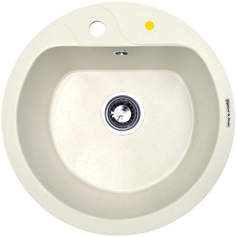 Мойка кухонная Zigmund & Shtain Kreis 505 F, врезная, 1 чаша, цвет: каменная сольA15-8777Zigmund & Shtain KREIS 505 F, ккухонная мойка, иск.гранит, 1чаша, форма круглая, глубина -21 см, ЦВЕТ каменная соль