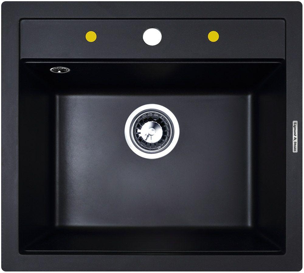 Мойка кухонная Zigmund & Shtain Platz 560, врезная, 1 чаша, цвет: черный базальтplatz560Zigmund & Shtain PLATZ 560, кухонная мойка, иск.гранит, 1чаша, форма-квадрат, глубина -21 см, ЦВЕТ черный базальт