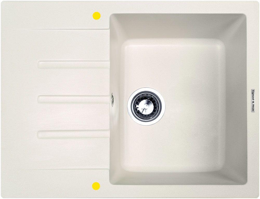 Мойка кухонная Zigmund & Shtain Rechteck 645, врезная, 1 чаша, крыло, цвет: индийская ванильrechteck645Zigmund & Shtain RECHTECK 645, кухонная мойка, иск.гранит, 1чаша-крыло, форма прямоугольная, глубина-21, Цвет индийская ваниль