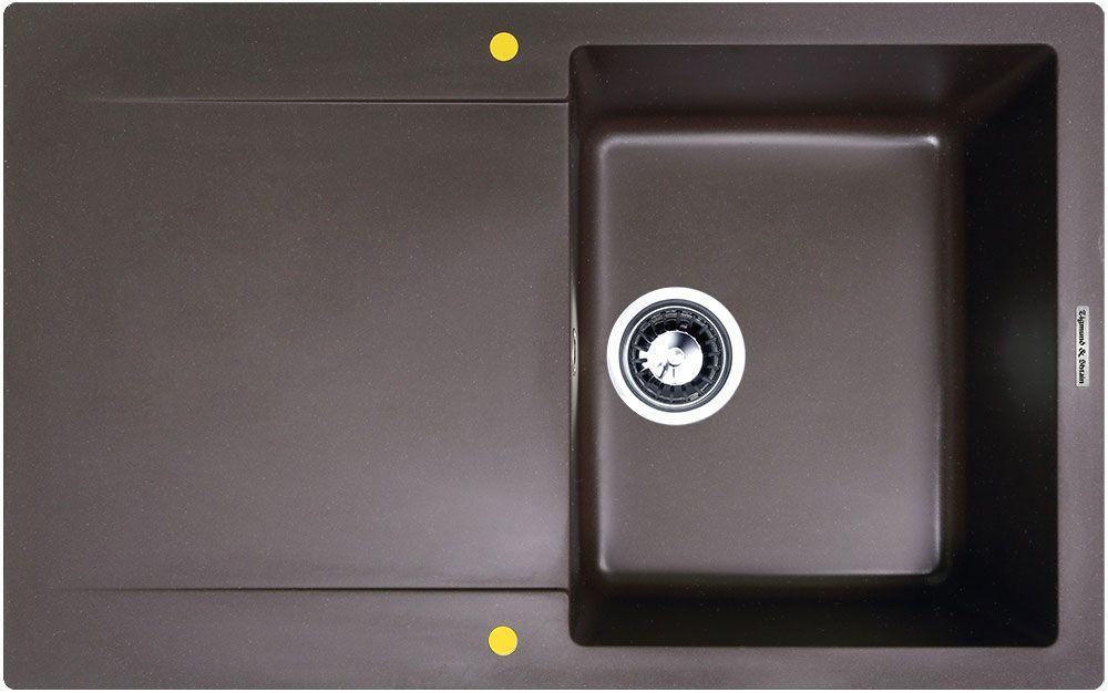Мойка кухонная Zigmund & Shtain Rechteck 775, врезная, 1 чаша, крыло, цвет: швейцарский шоколадrechteck775Zigmund & Shtain RECHTECK 775, кухонная мойка, иск.гранит, 1чаша-крыло, форма прямоугольная, глубина-21, Цвет швейцарский шоколад