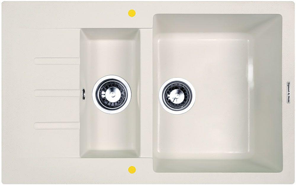Мойка кухонная Zigmund & Shtain Rechteck 775.2, врезная, 2 чаши, крыло, цвет: индийская ванильrechteck7752Zigmund & Shtain RECHTECK 775.2, кухонная мойка, иск.гранит, 2чаши-крыло, форма прямоугольная, глубина-21, Цвет индийская ваниль