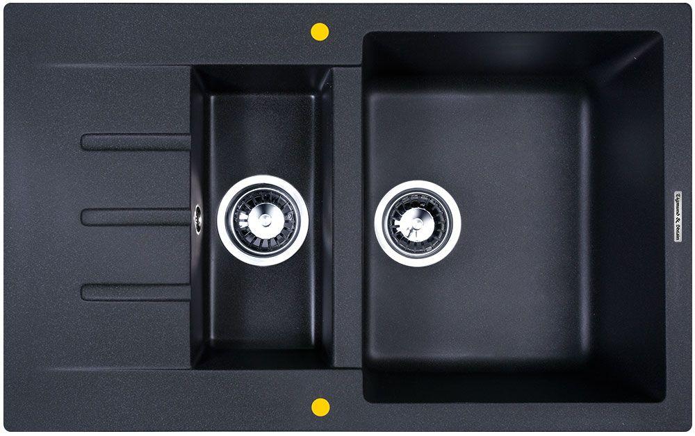 Мойка кухонная Zigmund & Shtain Rechteck 775.2, врезная, 2 чаши, крыло, цвет: темная скалаrechteck7752Zigmund & Shtain RECHTECK 775.2, , кухонная мойка, иск.гранит, 2чаши-крыло, форма прямоугольная, глубина-21, Цвет темная скала