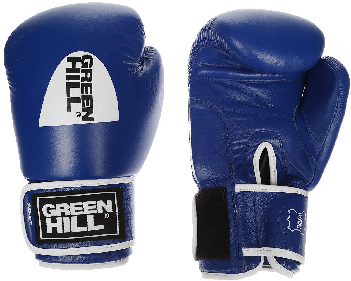 "Перчатки боксерские Green Hill ""Gym"", цвет: синий, белый. Вес 20 унций BGG-2018"