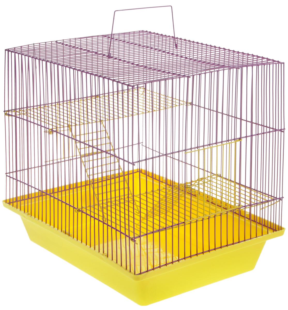 Клетка для грызунов ЗооМарк Гризли, 3-этажная, цвет: желтый поддон, фиолетовая решетка, желтые этажи, 41 х 30 х 36 см. 230ж0120710Клетка ЗооМарк Гризли, выполненная из полипропилена и металла, подходит для мелких грызунов. Изделие трехэтажное. Клетка имеет яркий поддон, удобна в использовании и легко чистится. Сверху имеется ручка для переноски.Такая клетка станет уединенным личным пространством и уютным домиком для маленького грызуна.