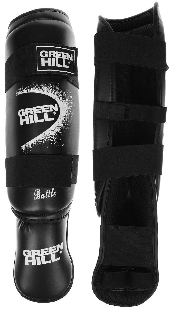 Защита голени и стопы Green Hill Battle, цвет: черный, белый. Размер L. SIB-0014SIB-0014Защита голени и стопы Green Hill Battle с наполнителем, выполненным из вспененного полимера, необходима при занятиях спортом для защиты пальцев и суставов от вывихов, ушибов и прочих повреждений. Накладки выполнены из высококачественной искусственной кожи. Подкладка изготовлена из хлопка, внутренняя сторона выполнена в виде сетки. Они надежно фиксируются за счет ленты и липучек. При желании защиту голени можно отцепить от защиты стопы. Длина голени: 38 см. Ширина голени: 15 см. Длина стопы: 24 см. Ширина стопы: 13 см.