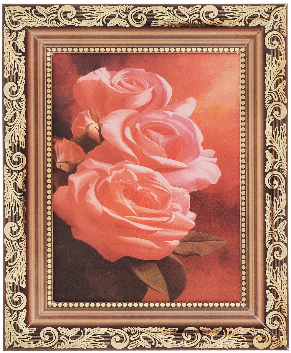 Картина в раме Proffi Home Розовые розы, 15 х 18 смВ748Картина Proffi Home Розовые розы поможет украсить интерьер. Изящные цветы придадут обстановке безмятежность и шик. Картина оформлена в красивую деревянную рамку с золотистым узором. Она будет достойным и не дорогим подарком. Картина идеально подойдет к любому интерьеру и скажет о прекрасном вкусе хозяина или хозяйки дома. В комплект входят крепления. Размер картины (без учета рамки): 15 х 18 см. Размер картины (с учетом рамки): 26,5 х 21,5 см.