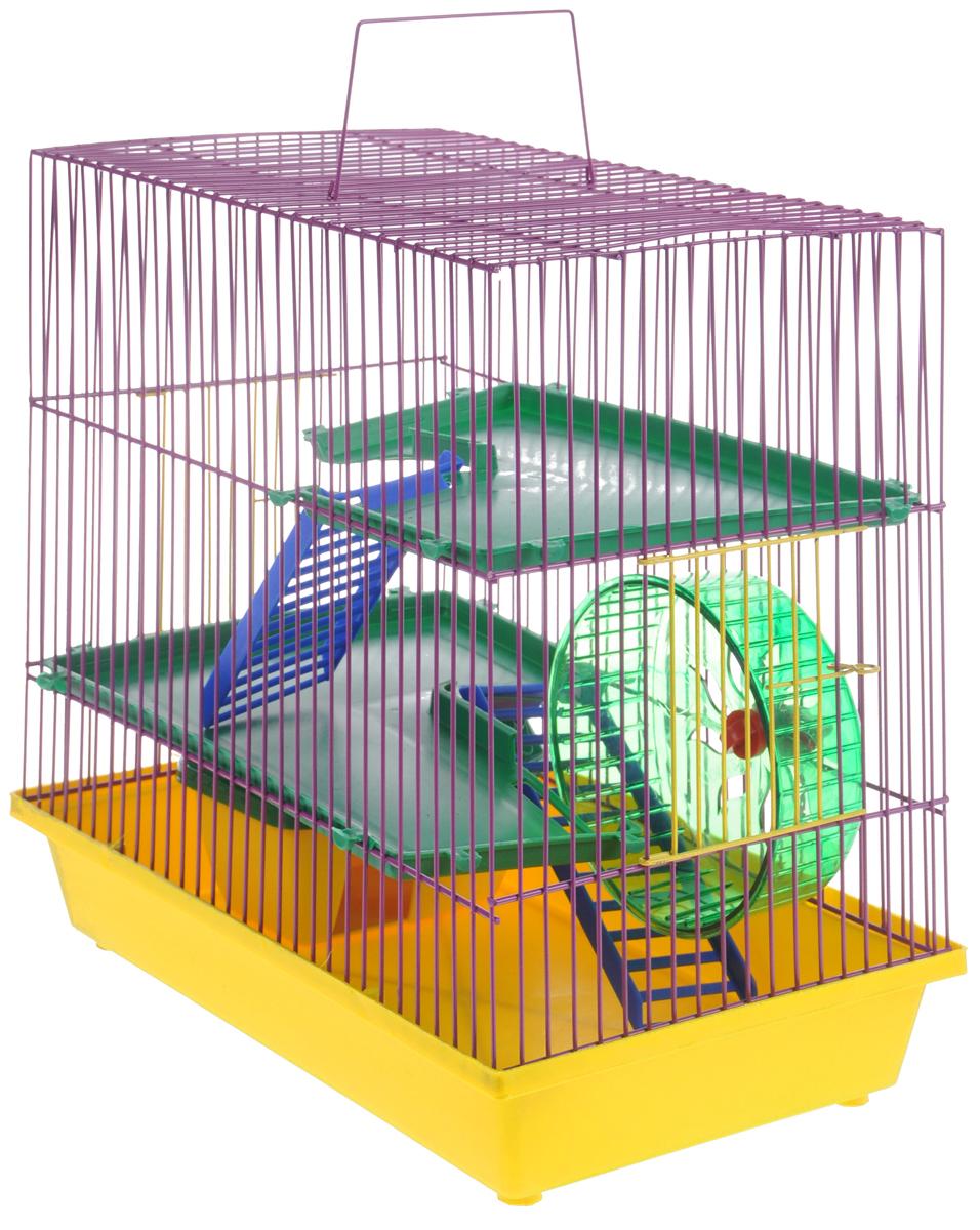 Клетка для грызунов ЗооМарк, 3-этажная, цвет: желтый поддон, фиолетовая решетка, зеленые этажи, 36 х 22,5 х 34 см. 1350120710Клетка ЗооМарк, выполненная из полипропилена и металла, подходит для мелких грызунов. Изделие трехэтажное, оборудовано колесом для подвижных игр и пластиковым домиком. Клетка имеет яркий поддон, удобна в использовании и легко чистится. Сверху имеется ручка для переноски. Такая клетка станет уединенным личным пространством и уютным домиком для маленького грызуна.