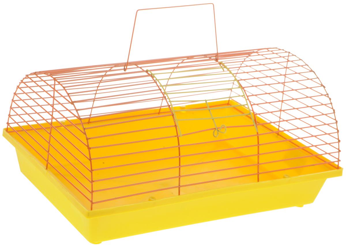 Клетка для грызунов ЗооМарк, цвет: желтый поддон, оранжевая решетка, 36 х 23 х 17,5 см(80)ЖОКлетка ЗооМарк, выполненная из полипропилена и металла, подходит для мелких грызунов. Она имеет яркий поддон, удобна в использовании и легко чистится. Сверху имеется ручка для переноски. Такая клетка станет уединенным личным пространством и уютным домиком для маленького грызуна.
