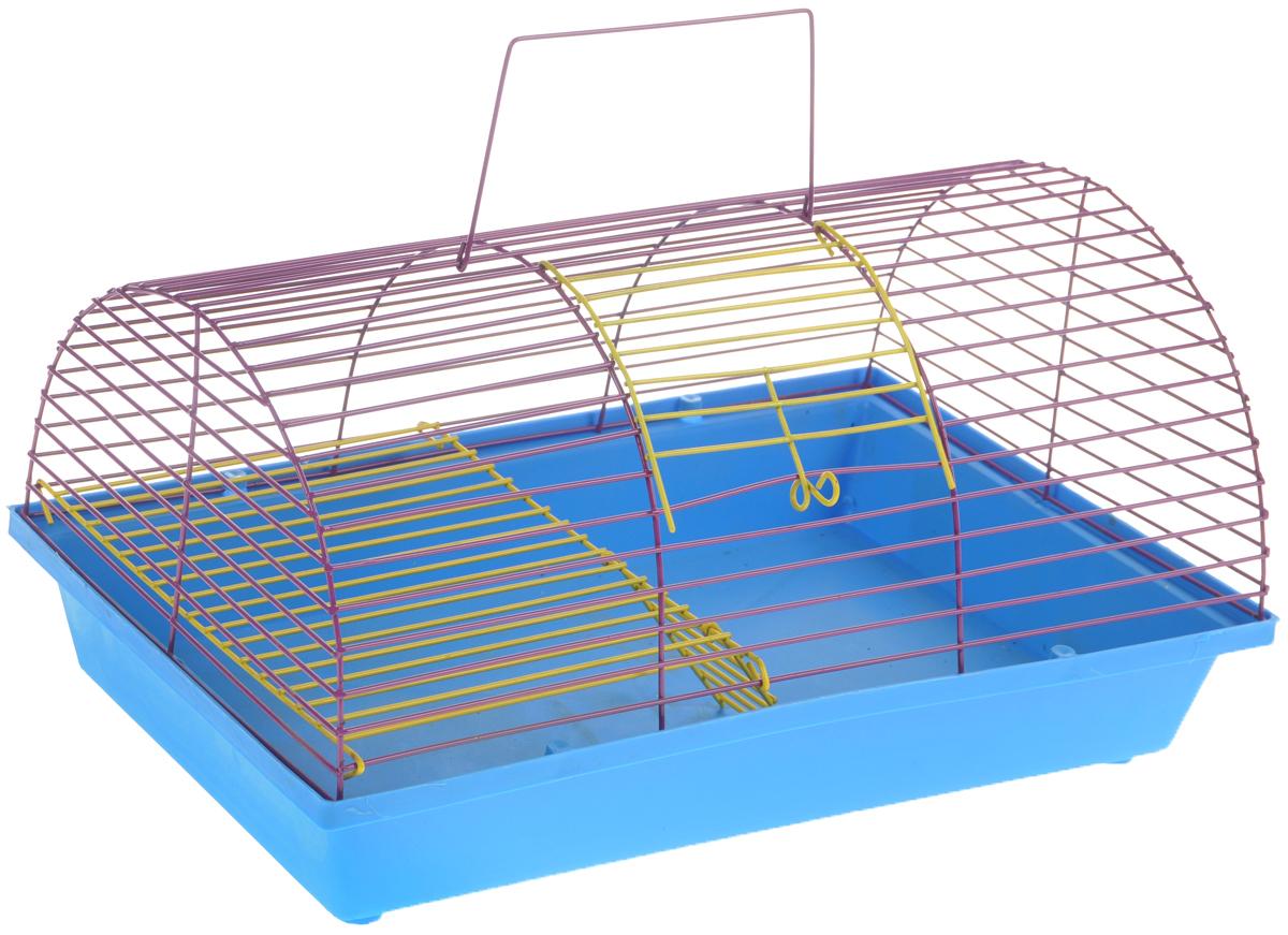 Клетка для грызунов ЗооМарк, цвет: голубой поддон, ярко-фиолетовая решетка, 36 х 23 х 17,5 см. 110ж0120710Клетка ЗооМарк, выполненная из полипропилена и металла, подходит для грызунов. Она имеет яркий поддон, удобна в использовании и легко чистится. Клетка оснащена вторым ярусом с лесенкой, выполненных из металла.Такая клетка станет уединенным пространством и уютным домиком для маленького грызуна.
